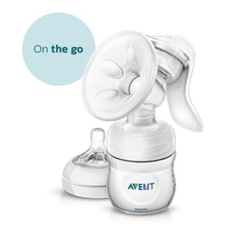 Manual breast pump and nipples Philips Avent on the go